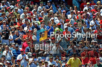 16 June 2012: Washington Nationals Fans cheer their team during a game against the New York Yankees at Nationals Park in Washington, DC. The Yankees defeated the Nationals in 14 innings by a score of 5-3, taking the second game of their 3-game series. Mandatory Credit: Ed Wolfstein Photo