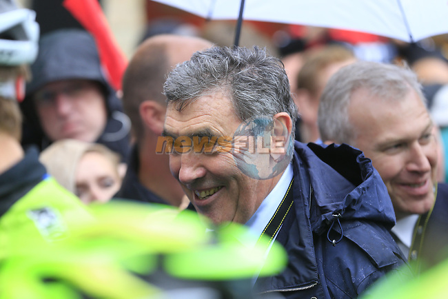 Former Champion Eddy Merckx special guest on the start line in Ypres for the cobbled stage Stage 5 of the 2014 Tour de France running 155.5km from Ypres to Arenberg. 9th July 2014.<br /> Picture: Eoin Clarke www.newsfile.ie