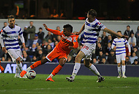 FAO SPORTS PICTURE DESK<br /> Pictured L-R: Scott Sinclair of Swansea takes a shot while challenged by Clint Hill of QPR. Wednesday, 11 April 2012<br /> Re: Premier League football, Queens Park Rangers v Swansea City FC Loftus Road Stadium, London.