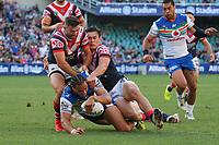 Try to Leivaha Pulu. Sydney Roosters v Vodafone Warriors, NRL Rugby League. Allianz Stadium, Sydney, Australia. 31st March 2018. Copyright Photo: David Neilson / www.photosport.nz