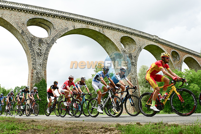The peleton including Spanish National Champion Jesús Herrada (ESP) Cofidis in action during Stage 2 of the 2018 Criterium du Dauphine 2018 running 181km from Montbrison to Belleville, France. 5th June 2018.<br /> Picture: ASO/Alex Broadway | Cyclefile<br /> <br /> <br /> All photos usage must carry mandatory copyright credit (© Cyclefile | ASO/Alex Broadway)