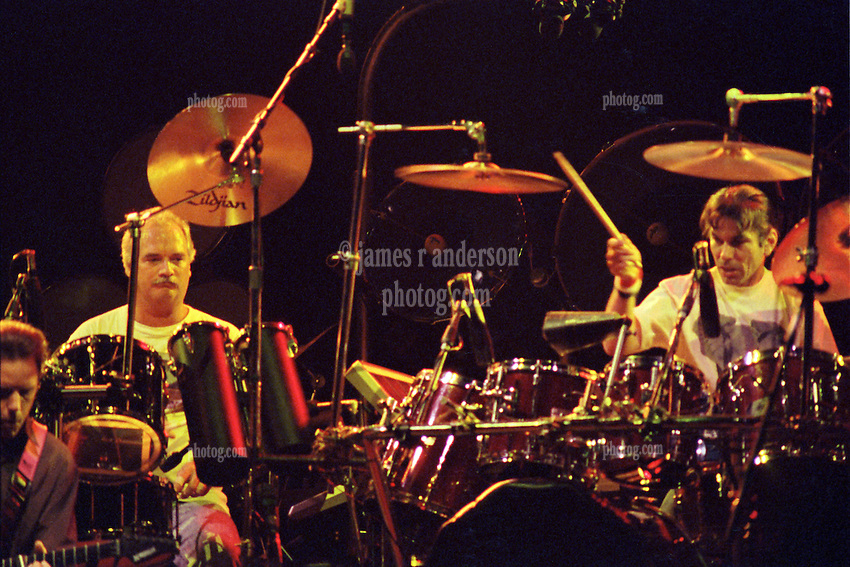 Percussionists Bill Kruetzmann and Mickey Hart in performance with The Grateful Dead Live at The Capital Centre, Landover MD, 16 March 1990