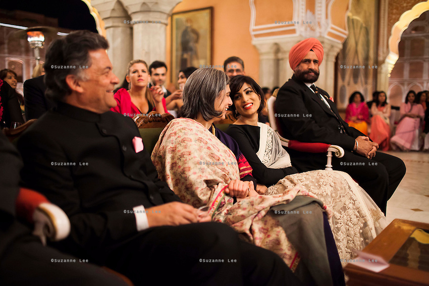 OzFest ambassador Pallavi Sharda (center, right) shares a light moment with other VIPs at the front row of the violin recital by Australian violinist Niki Vasilakis at the OzFest Gala Dinner in the Jaipur City Palace, in Rajasthan, India on 10 January 2013. Photo by Suzanne Lee