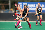 02 October 2016: Duke's Stephanie Pezzuti (8) and Boston's Sara Martineau (12). The Duke University Blue Devils hosted the Boston University Terriers at Jack Katz Stadium in Durham, North Carolina in a 2016 NCAA Division I Field Hockey match. Duke won the game 2-1.
