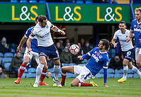 Paul Hayes of Wycombe Wanderers and Christian Burgess of Portsmouth during the FA Cup 1st round match between Portsmouth and Wycombe Wanderers at Fratton Park, Portsmouth, England on the 5th November 2016. Photo by Liam McAvoy.
