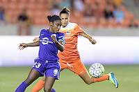 Jasmyne Spencer (23) of the Orlando Pride attempts to control a loose ball against the Houston Dash on Friday, May 20, 2016 at BBVA Compass Stadium in Houston Texas. The Orlando Pride defeated the Houston Dash 1-0.