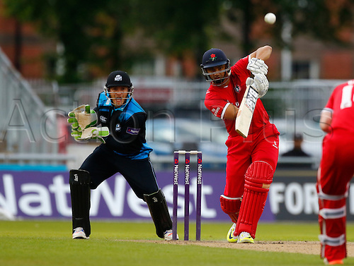 24.06.2016. Old Trafford, Manchester, England. Natwest T20 Blast. Lancashire Lightning versus Worcestershire Rapids. Lancashire Lightning batsman Alviro Petersen hits a four.