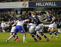 Conor McLaughlin of Millwall has hands on Lukas Jutkiewicz of Birmingham City during the Sky Bet Championship match between Millwall and Birmingham City at The Den, London, England on 21 October 2017. Photo by Carlton Myrie.