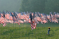 Ethan Hendrickson, 5, walks among 2,996 flags placed at Kennesaw Mountain National Battlefield Park by the Kiwanis Club of Marietta in remembrance of people who died in the terrorist attacks of five years ago.<br />