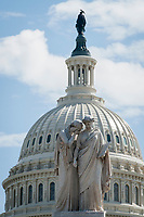 With the US Capitol in the background, the Peace Monument stands above the US Capitol grounds as the United States deals with the COVID-19 pandemic in Washington, DC, Tuesday, March 17, 2020. Credit: Rod Lamkey / CNP/AdMedia