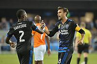 San Jose, CA - Saturday September 16, 2017: Kofi Sarkodie, Chris Wondolowski during a Major League Soccer (MLS) match between the San Jose Earthquakes and the Houston Dynamo at Avaya Stadium.