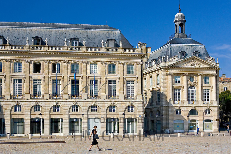 Place de la Bourse, Bordeaux, France. Former Royal Palace dedicated to King Louis XV (15th) .