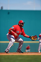 Boston Red Sox third baseman Pablo Sandoval (48) during a Spring Training game against the Pittsburgh Pirates on March 9, 2016 at McKechnie Field in Bradenton, Florida.  Boston defeated Pittsburgh 6-2.  (Mike Janes/Four Seam Images)