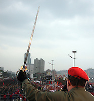 President of venezuela Hugo chavez during the army parade celebrating a new anniversary of the resistance against a coup attempt to overthorw him in 1992.