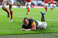 Captain Fourie du Preez of South Africa dives over in the corner to score a try during Match 41 of the Rugby World Cup 2015 between South Africa and Wales - 17/10/2015 - Twickenham Stadium, London<br /> Mandatory Credit: Rob Munro/Stewart Communications
