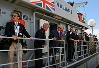 Pictured: Prince Charles (3rd L) on board HMS Valiant in Piraeus, Greece. Thursday 10 May 2018 <br /> Re: HRH Prnce Charles visits HMS Echo and HMS Valiant in Piraeus, Greece