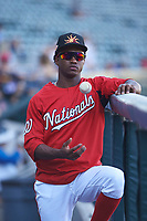 Mesa Solar Sox outfielder Victor Robles (14), of the Washington Nationals organization, relaxes on his day off during an Arizona Fall League game against the Glendale Desert Dogs on October 28, 2017 at Sloan Park in Mesa, Arizona. The Solar Sox defeated the Desert Dogs 9-6. (Zachary Lucy/Four Seam Images)