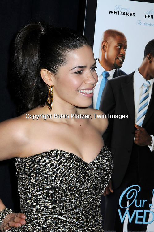 """actress America Ferrera in vintage dress attending The screeening of """"Our Family Wedding"""" on March 9, 2010 at The Loews Lincoln Square Theatre in New York City."""