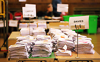 Pictured: The winning ballot papers of MP Geraint Davies. Friday 09 June 2017<br /> Re: Counting of ballots at Brangwyn Hall for the general election in Swansea, Wales, UK