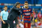 FC Barcelona's coach Luis Enrique Martinez (l) with Neymar Santos Jr during Spanish Kings Cup Final match. May 22,2016. (ALTERPHOTOS/Acero)