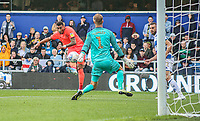 Huddersfield Town's Karlan Grant takes a shot on goal against Queens Park Rangers' Joe Lumley<br /> <br /> Luke Brennan/CameraSport<br /> <br /> The EFL Sky Bet Championship - Queens Park Rangers v Huddersfield Town - Saturday 10th August 2019 - Loftus Road - London<br /> <br /> World Copyright © 2019 CameraSport. All rights reserved. 43 Linden Ave. Countesthorpe. Leicester. England. LE8 5PG - Tel: +44 (0) 116 277 4147 - admin@camerasport.com - www.camerasport.com