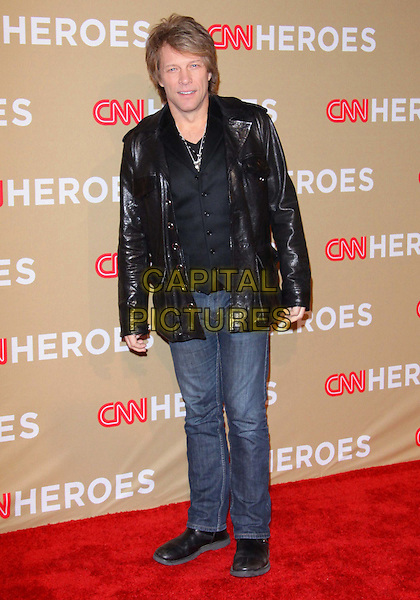 JON BON JOVI.The CNN Heroes: An All-star Tribute held at The Shrine Auditorium in Los Angeles, California, USA..November 20th, 2010.full length black leather jacket shirt jeans denim.CAP/ADM/TC.©T. Conrad/AdMedia/Capital Pictures.
