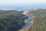 Aerial views of Big River and Mendocino Village on the Mendocino Coast
