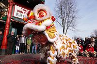 Nederland Amsterdam 2018. Chinees Nieuwjaar viering. In Amsterdam Chinatown wordt twee keer per jaar Nieuwjaar gevierd : op de eerste winkeldag na 1 januari en tijdens het officiele Chinese Nieuwjaar , dat een paar weken later plaatsvindt. Tijdens de viering van Chinees Nieuwjaar worden er leeuwendansen opgevoerd . Toko Dun Yong.  Foto Berlinda van Dam / Hollandse Hoogte