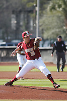 Boston College pitcher Matt Alvarez #30 pitching during a game against the James Madison University Dukes at Watson Stadium at Vrooman Field on February 18, 2012 in Conway, SC.  Boston College defeated James Madison 8-5.  (Robert Gurganus/Four Seam Images)