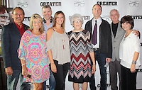 "NWA Democrat-Gazette/CARIN SCHOPPMEYER Marty and Vickie Burlsworth (from left), Josh Emerson, Barbara Burlsworth, Peter Lewis and Tommy and JoAnn Tice gather at the preview screening of ""Greater"" on Aug. 22 at Malco Razorback Cinema in Fayetteville."