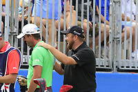Shane Lowry (IRL) and Alexander Bjork (SWE) on the 1st tee during Saturday's Round 3 of the 2018 Dubai Duty Free Irish Open, held at Ballyliffin Golf Club, Ireland. 7th July 2018.<br /> Picture: Eoin Clarke | Golffile<br /> <br /> <br /> All photos usage must carry mandatory copyright credit (&copy; Golffile | Eoin Clarke)