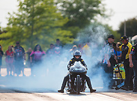 May 31, 2019; Joliet, IL, USA; NHRA pro stock motorcycle rider Jianna Salinas does a burnout during qualifying for the Route 66 Nationals at Route 66 Raceway. Mandatory Credit: Mark J. Rebilas-USA TODAY Sports