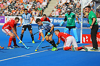 Gonzalo Peillat of Argentina tries to make a defensive clearance during the Hockey World League Semi-Final match between England and Argentina at the Olympic Park, London, England on 18 June 2017. Photo by Steve McCarthy.