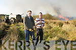 Stephen O'Sullivan and Mike Teahan along with local farmer John O'Shea battle to quench the gorse fire that threatened their farmland at Coolick, the fire ripped through Kilcummin and Coolick bogs on Tuesday afternoon destroying over six miles of forest and and bog