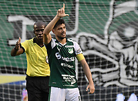 PALMIRA - COLOMBIA, 20-07-2019: Matias Cabrera del Cali celebra después de anotar el primer gol de su equipo durante partido entre Deportivo Cali y Jaguares de Córdoba por la fecha 2 de la Liga Águila II 2019 jugado en el estadio Deportivo Cali de la ciudad de Palmira. / Matias Cabrera of Cali celebrates after scoring the first goal of his team during match between Deportivo Cali and Jaguares de Cordoba for the date 2 as part Aguila League II 2019 played at Deportivo Cali stadium in Palmira city. Photo: VizzorImage / Gabriel Aponte / Staff