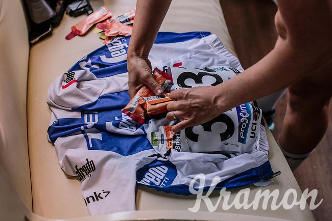 Lotta Lepisto of Trek Segafredo filling her jersey pockets with energy bars before the 16th Ronde Van Vlaanderen<br /> <br /> Elite Womans Race (1.WWT)<br /> <br /> One day race from Oudenaarde to Oudenaarde<br /> ©Jojo Harper for Kramon