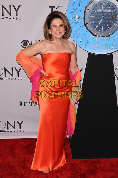 Tovah Feldshuh.The 2011 Tony Awards held at The Beacon Theater, New York City, NY, USA..June 12th, 2011.full length orange strapless pink wrap maxi dress hand onhip.CAP/ADM/CS.©Christopher Smith/AdMedia/Capital Pictures.