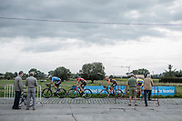 breakaway gorup with Luuc Bugter (NED/Veranda's Willems Crelan), Stijn De Bock (BEL/Cibel - Cebon), Jeroen Meijers (NED/Roompot Nederlandse Loterij) and David Boucher (BEL/Tarteletto Isorex) riding over a cobbled zone. <br /> <br /> <br /> 103th Kampioenschap van Vlaanderen 2018 (UCI 1.1)<br /> Koolskamp – Koolskamp (186km)