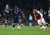 2nd November 2017, Emirates Stadium, London, England; UEFA Europa League group stage, Arsenal versus Red Star Belgrade; Richmond Boakye of Red Star Belgrade goes passed Mathieu Debuchy of Arsenal