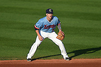 Cedar Rapids Kernels second baseman Tanner Vavra (7) during a game against the Quad Cities River Bandits on August 19, 2014 at Perfect Game Field at Veterans Memorial Stadium in Cedar Rapids, Iowa.  Cedar Rapids defeated Quad Cities 5-3.  (Mike Janes/Four Seam Images)
