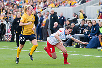 Sandy, UT - Saturday April 14, 2018: Rachel Corsie, Samantha Johnson during a regular season National Women's Soccer League (NWSL) match between the Utah Royals FC and the Chicago Red Stars at Rio Tinto Stadium.