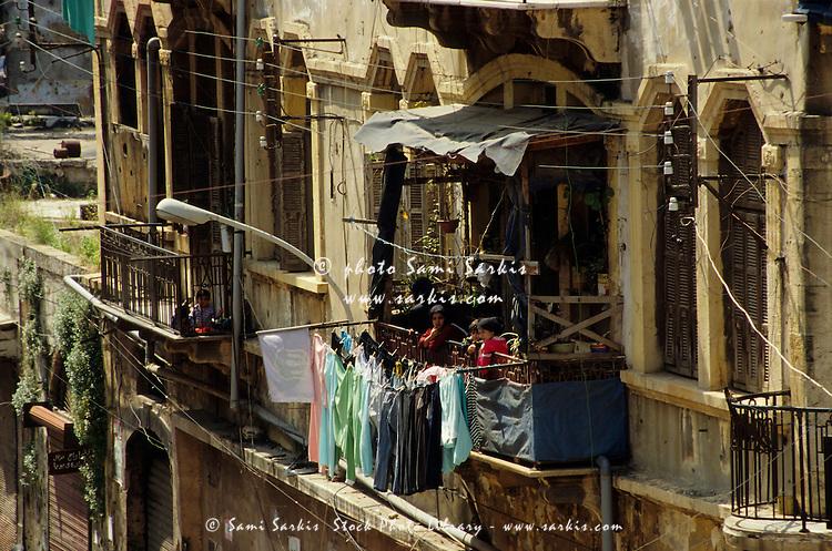 Washing line on the balcony of damaged apartments, Beirut, Lebanon.