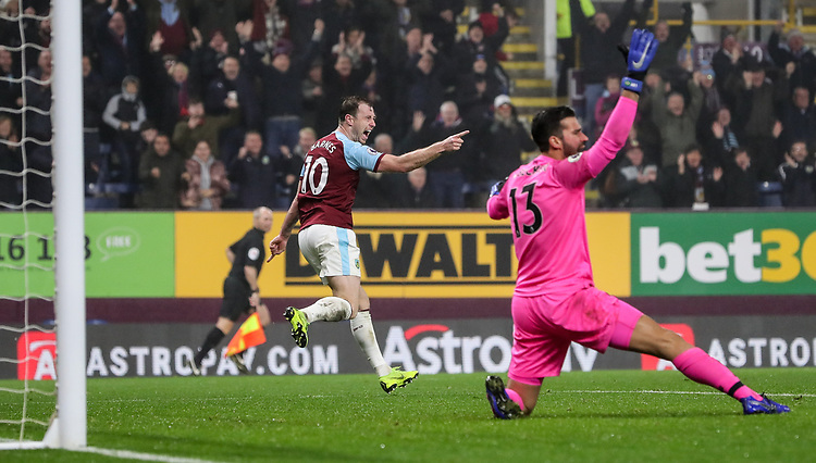 Burnley's Ashley Barnes celebrates his side's first goal goal scored by Jack Cork (not shown) as Liverpool's goalkeeper Alisson Becker appeals<br /> <br /> Photographer Andrew Kearns/CameraSport<br /> <br /> The Premier League - Burnley v Liverpool - Wednesday 5th December 2018 - Turf Moor - Burnley<br /> <br /> World Copyright &copy; 2018 CameraSport. All rights reserved. 43 Linden Ave. Countesthorpe. Leicester. England. LE8 5PG - Tel: +44 (0) 116 277 4147 - admin@camerasport.com - www.camerasport.com