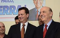SAO PAULO, 04 DE JUNHO DE 2012 - SERRA PR - O candidato a prefeitura de Sao Paulo, Jose Serra, e o Prefeito Gilberto Kassab em reuniao de apoio politico na sede do Partido da Republica. na Avenida Republica do Libano, regiao sul da capital, na tarde desta segunda feira. FOTO: ALEXANDRE MOREIRA - PHOTO PRESS