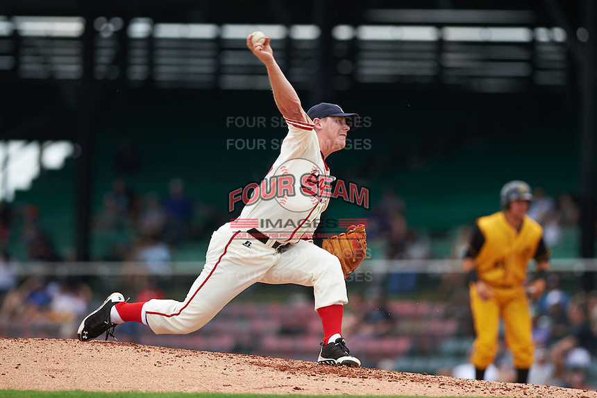 Birmingham Barons pitcher Nolan Sanburn (15) delivers a pitch during the 20th Annual Rickwood Classic Game against the Jacksonville Suns on May 27, 2015 at Rickwood Field in Birmingham, Alabama.  Jacksonville defeated Birmingham by the score of 8-2 at the countries oldest ballpark, Rickwood opened in 1910 and has been most notably the home of the Birmingham Barons of the Southern League and Birmingham Black Barons of the Negro League.  (Mike Janes/Four Seam Images)
