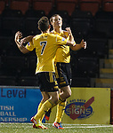 Iain Russell celebrates the final goal with Livi team mate Tony Andrew