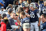 Kicker Brent Zuzo celebrates with fans after Nevada defeated Hawaii 30-20 in Reno, Nev., on Saturday, Oct. 24, 2015. (AP Photo/Cathleen Allison)