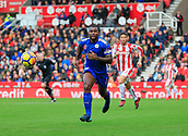 4th November 2017, bet365 Stadium, Stoke-on-Trent, England; EPL Premier League football, Stoke City versus Leicester City; Wes Morgan of Leicester City chases for the ball