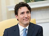 Prime Minister Justin Trudeau of Canada is seen during a meeting with United States President Donald Trump in the Oval Office at the White House in Washington, D.C. on February 13, 2017.<br /> Credit: Kevin Dietsch / Pool via CNP