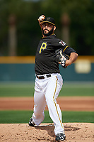 Pittsburgh Pirates pitcher Richard Rodriguez (48) throws live batting practice during the teams first Spring Training practice on February 18, 2019 at Pirate City in Bradenton, Florida.  (Mike Janes/Four Seam Images)